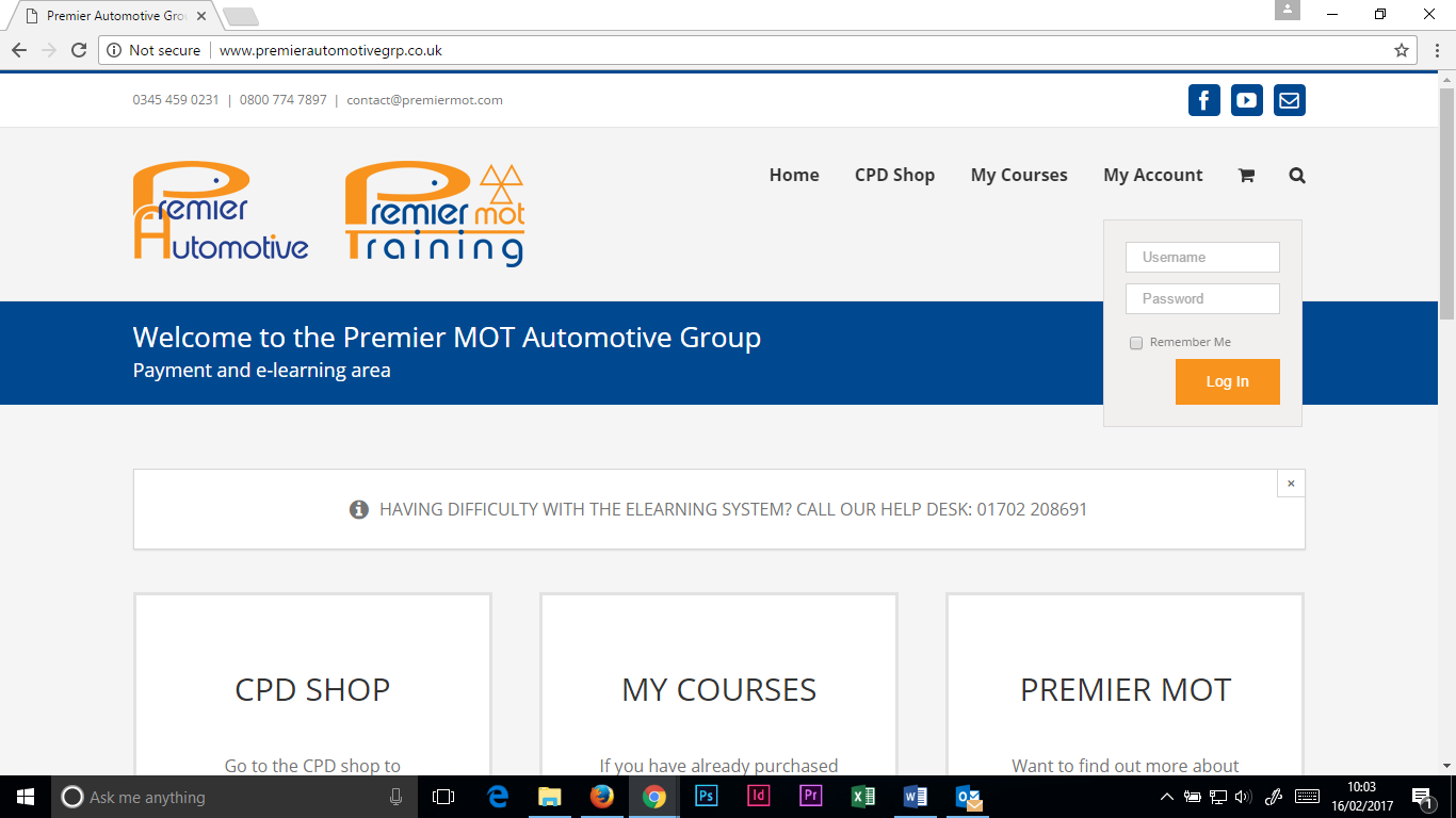 Once in the payment and e-Learning area, scroll over 'MY ACCOUNT' and enter your log in details