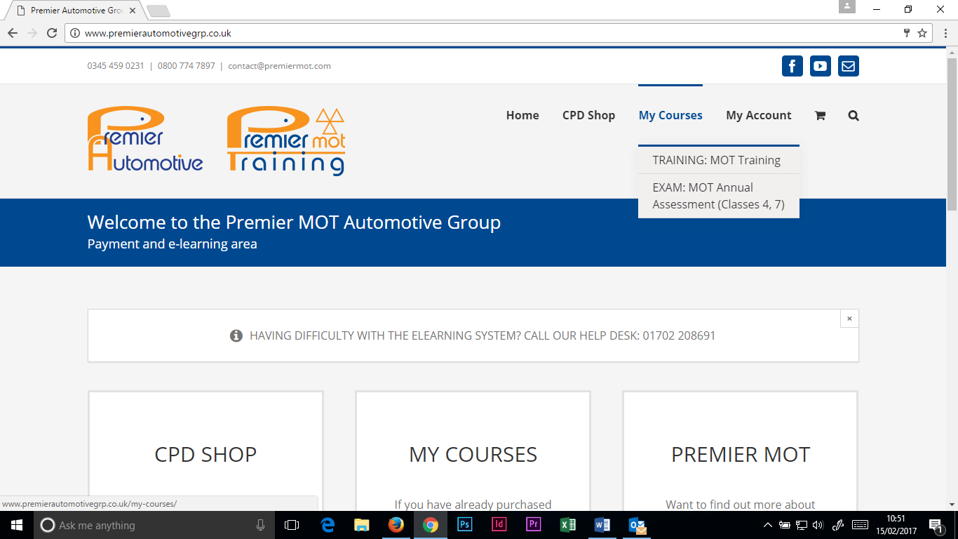 Scroll on 'MY COURSES' and click on 'EXAM: MOT Annual Assessment'