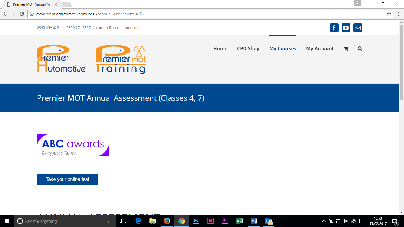 Click 'Take Online Test' to access the exam