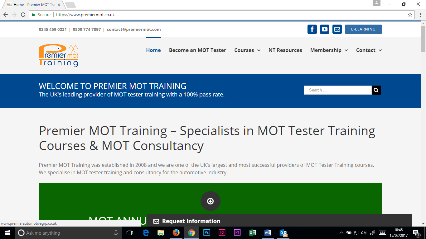 Click the ELEARNING button in the top right hand corner of the Premier MOT website
